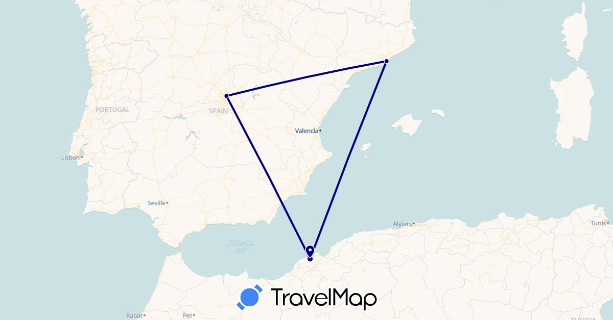 TravelMap itinerary: driving in Algeria, Spain (Africa, Europe)